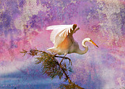 Foggy Digital Art Posters - White Lake Swamp Egret Poster by J Larry Walker