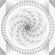 Metaphysics Prints - White Light Healing Mandala Print by Sarah  Niebank Hoffman