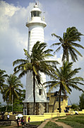 Coast Metal Prints - White Lighthouse in Galle Metal Print by Regina Koch