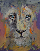 Chat Posters - White Lion Poster by Michael Creese