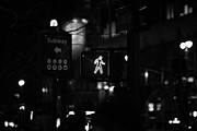 Crosswalk Framed Prints - White Man Pedestrian Walk Sign Illuminated At Night In Street Scene New York City Framed Print by Joe Fox