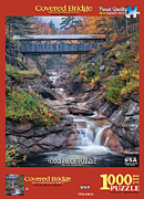 New England Mixed Media - White Mountain Puzzles Covered bridge by Thomas Schoeller