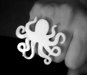 Charm Ring Jewelry - White Octopus Ring by Rony Bank