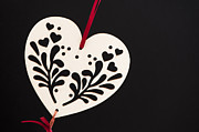 Valentines Day Posters - White on Black Poster by Anne Gilbert