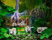 White Tiger Mixed Media - White On Green by Michael Pittas