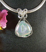 Wire-wrapped Jewelry Originals - White Opal Druzy Pendant in Sterling by Holly Chapman