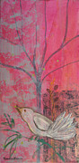 Robin Maria Pedrero Metal Prints - White Peace Bird on Pink Metal Print by Robin Maria  Pedrero