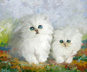 Fresh Green Painting Posters - White Persian Kittens  Poster by Catf