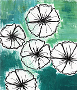 White Petunias- Floral Abstract Painting Print by Linda Woods