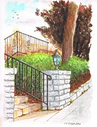 Urban  Drawings Paintings - White pillar in Larrabee St - West Hollywood - California by Carlos G Groppa