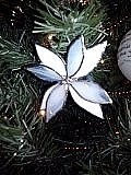 Copper Foil Glass Art - White poinsettia ornament by Liz Shepard