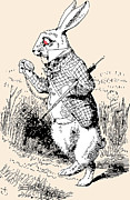 Adventures Drawings Posters - White Rabbit Alice in Wonderland Poster by John Tenniel