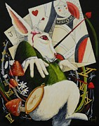 Alice In Wonderland Paintings - White Rabbit by Amy Burczyk