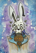 Characters Drawings - White Rabbit by Ellen Henneke