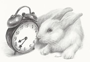 Clock Drawings Posters - White rabbit still life Poster by Meagan  Visser