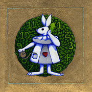 Alice In Wonderland Mixed Media Framed Prints - White Rabbit Wonderland Framed Print by Donna Huntriss