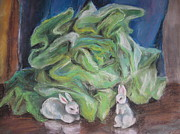 Lettuce Pastels Framed Prints - White Rabbits And Lettuce Framed Print by Katarzyna Popowicz