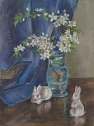 Good Luck Pastels Posters - White Rabbits And White Flowers Poster by Katarzyna Popowicz