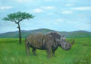 Northern Africa Painting Posters - White Rhinoceros Poster by Tom Blodgett Jr