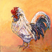 Rooster Art - White Rooster by Jennifer Lommers