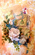 Featured Mixed Media Originals - White roses and forget me nots on decoupaged background by Patricia Rachidi