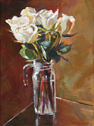 Cut Flowers Paintings - White Roses and Glass by David Lloyd Glover