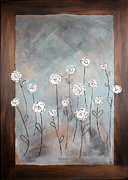 Interior Still Life Painting Metal Prints - White roses Metal Print by Home Art