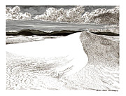 Pen And Ink Framed Prints Drawings - White Sands New Mexico by Jack Pumphrey