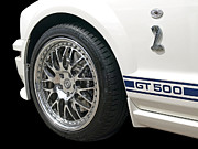Shelby Mustangs Framed Prints - White Shelby GT500 Framed Print by Gill Billington