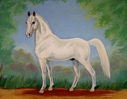 Horse Pastels Prints - White Spirit Horse Print by Cynthia Riley