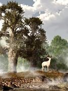Daniel Eskridge - White Stag on a Misty Morning