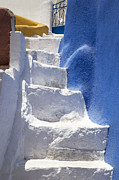 Flight Of Stairs Posters - White stairs Oia Poster by Jim  Wallace
