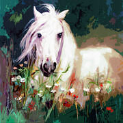 Wild Horse Mixed Media Metal Prints - White Stallion in Wildflower Field Metal Print by Ginette Callaway