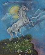 Puerto Rico Paintings - White Stallion by Maurice Dilan