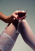 Wine Legs Framed Prints - White Stockings With Wineglass Framed Print by Aleksey Tugolukov