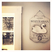 Beige Framed Prints - White Swan Tavern Nantucket Framed Print by Brooke Ryan