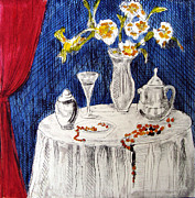 White Wine Mixed Media Prints - White Table Print by Karen Coggeshall