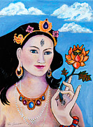 Lotus Paintings - White Tara 2 by Peta Garnaut