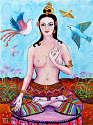 Tibetan Buddhism Paintings - White Tara with Birds by Peta Garnaut