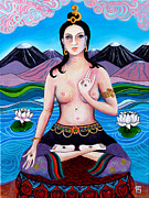 Tibetan Buddhism Paintings - White Taras Compassion by Peta Garnaut