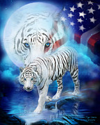Animal Flag Art Framed Prints - White Tiger Moon - Patriotic Framed Print by Carol Cavalaris