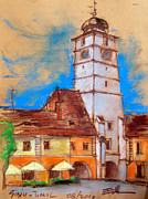 Medieval Pastels Prints - White Tour In Sibiu Print by EMONA Art