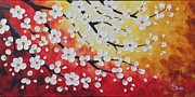 Cherry Blossoms Painting Originals - White Tree Blossoms by Shiela Gosselin