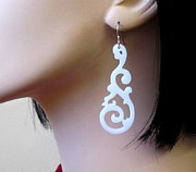 Perspex Jewelry Jewelry - White Tribal Tattoo Earrings by Rony Bank