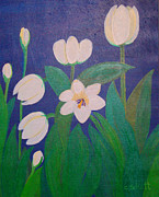 Spring Paintings - White Tulips by Christina Schott