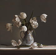 Realist Paintings - White Tulips by Larry Preston