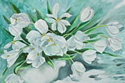 Canmore Artist Posters - White Tulips Poster by Virginia Ann Hemingson