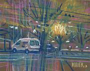 Plein Air Drawings Metal Prints - White Van Metal Print by Donald Maier