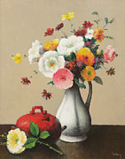 Red Bouquet Paintings - White Vase and Red Box by Felix Elie Tobeen