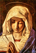 Joseph Frank Baraba Digital Art Prints - White Veiled Virgin Mary Print by Joseph Frank Baraba